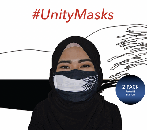 #UnityMasks - Pahang Edition Reusable Face Masks (2 Pack: Pahang Flag & Malaysian Flag)