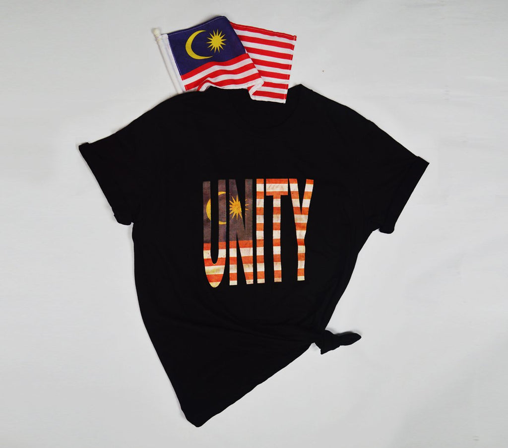 #Unity Tee - Unity & Malaysian Flag Design  - Black Cotton Short Sleeve TShirt - Unisex - Black