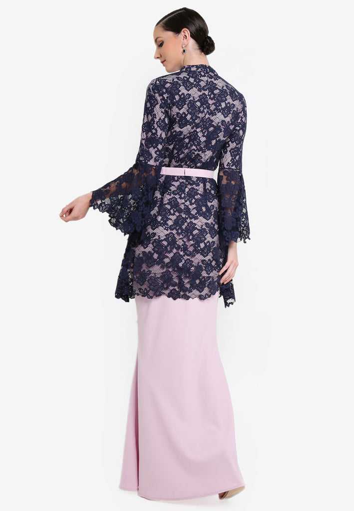 CURACAO - LACE KURUNG W/ FLARE SLEEVE AND CRYSTAL BELT - NAVY BLUE