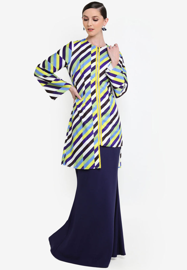BRIGHTON - ASYMETRICAL KURUNG JACKET W/ 3/4 SLEEVE - BLUE/YELLOW