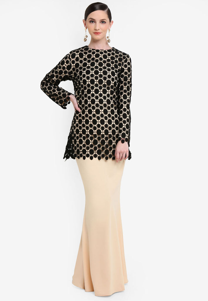 BURANO - MODERN LACE KURUNG - BLACK/CREAM