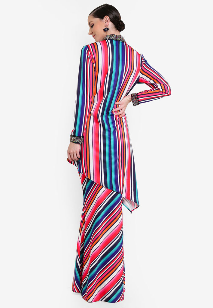 SHIBUYA - MODERN KURUNG WITH SLIT BEADED COLAR & CUFFS - PRINT