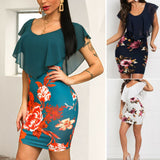 Women's Blue Floral Dress /  Skinny Ruffles Formal Bodycon Dress / Slim Business or Party Evening  Wear Short Pencil Dress - celebrityfashion-in