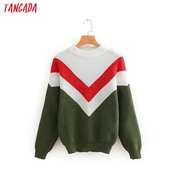 Oversize knitted sweater women jumper / Long sleeve ladies sweater