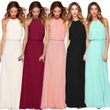 Women Formal Chiffon Sleeveless Halter Dress / Prom Evening Party Long Maxi dress - celebrityfashion-in