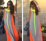 Women Sleeveless Chiffon Full Dress - celebrityfashion-in