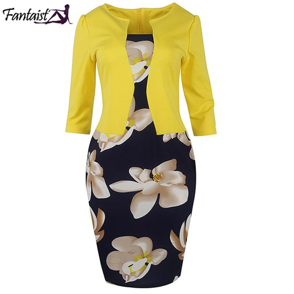 One Piece Patchwork Floral Print Elegant Business Party Formal Office Plus Size Bodycon Pencil Work Dresses - celebrityfashion-in