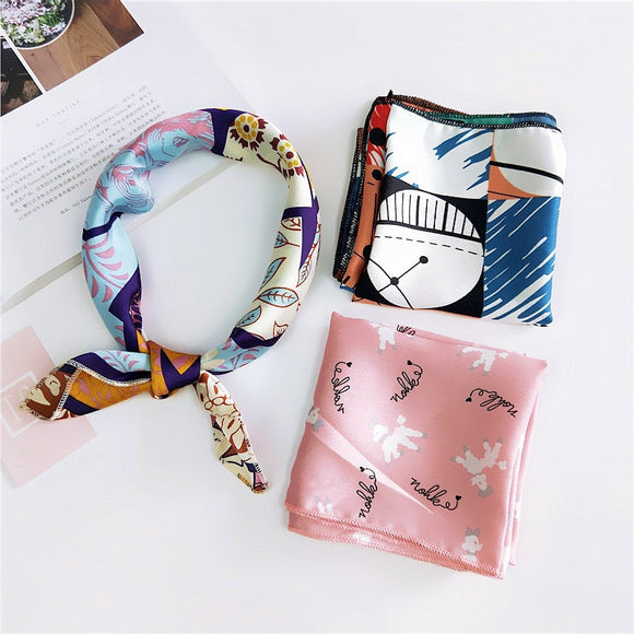 Small Square Satin Scarf Artifical Silk Scarf Foulard Femme Elegant Women's Wrap Handkerchief. - celebrityfashion-in