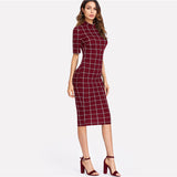 Celebrity Women 2019 Plaid Pencil Elegant Bodycon Dress - celebrityfashion-in