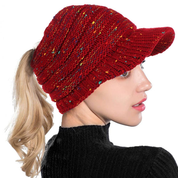 AudWhale Winter Ponytail Beanie Hats For Women Sun Protect  Cotton Bling Spot Women's Winter Cap Beanies Hole Hat For A Girl - celebrityfashion-in