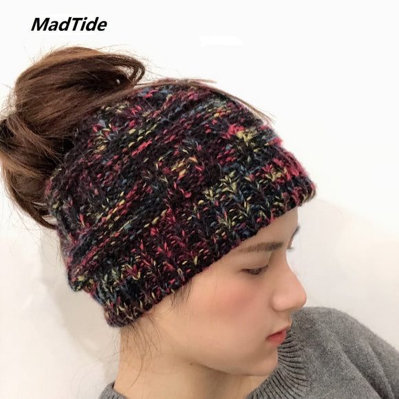 Soft Knit Ponytail Beanie Hat Soft Knit Messy Bun Winter Cap Women Skullies Beanies Warm Cap Fashion Knitted Woolen Crochet Hats - celebrityfashion-in