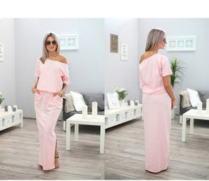 Women Long Maxi Dress with open pockets Dress - celebrityfashion-in