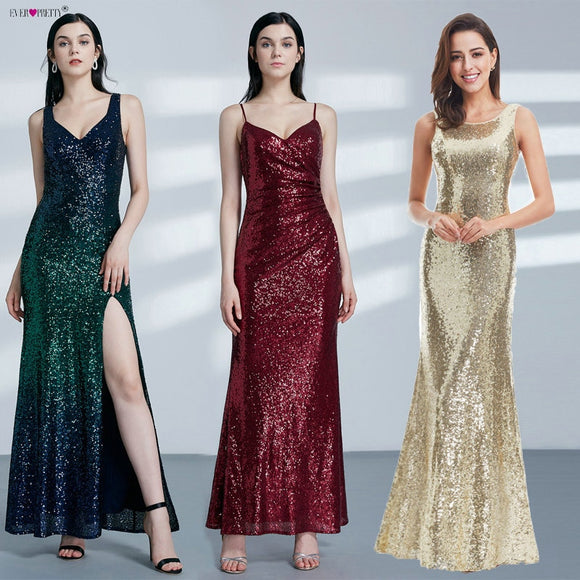 Gold Long Evening Dress / Women 2019 Evening Party Gowns - celebrityfashion-in