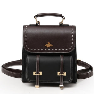 Vintage Pu Leather Women Backpack - celebrityfashion-in