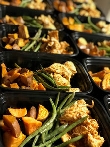 Bbq Chicken, Roasted Green Beans, Roasted Sweet Potatoes