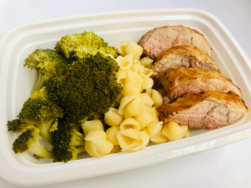Pork Loin, White Cheddar Mac, Broccoli