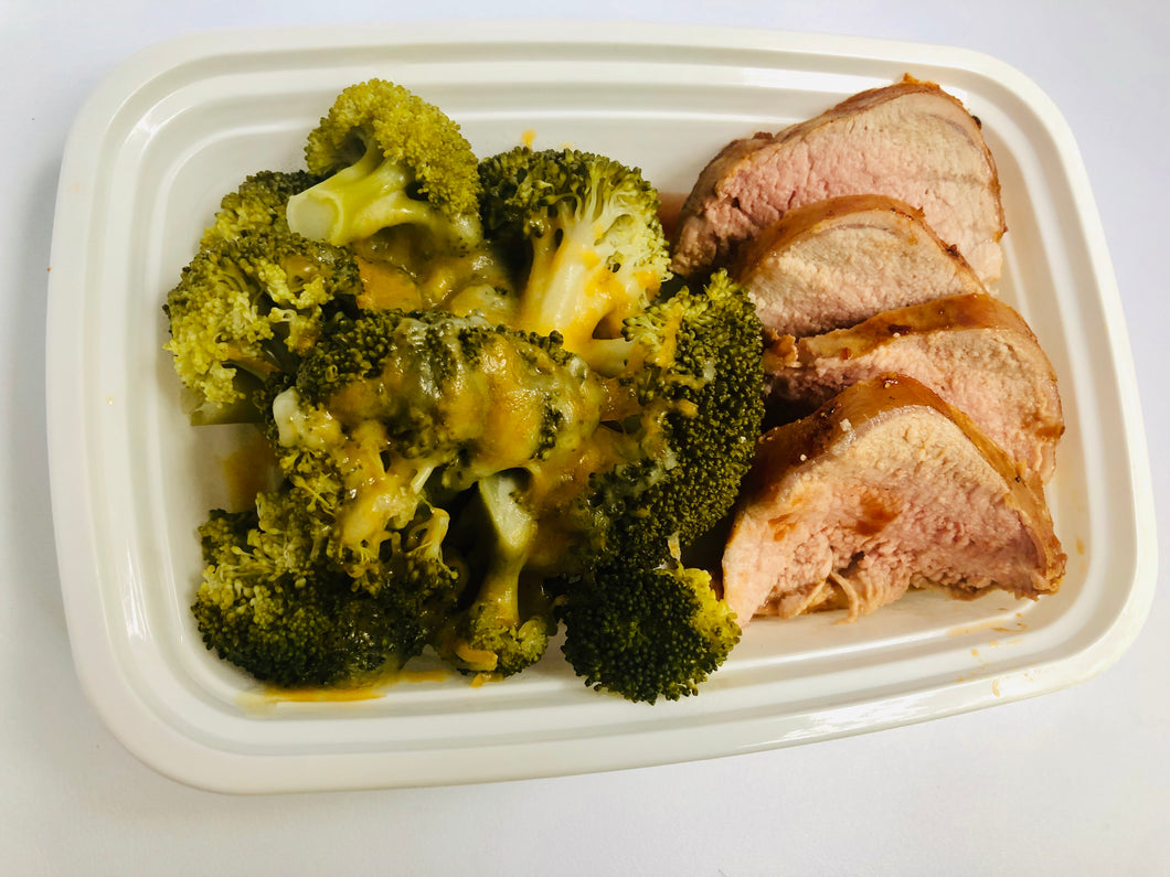 Pork Loin, Cheesy Broccoli