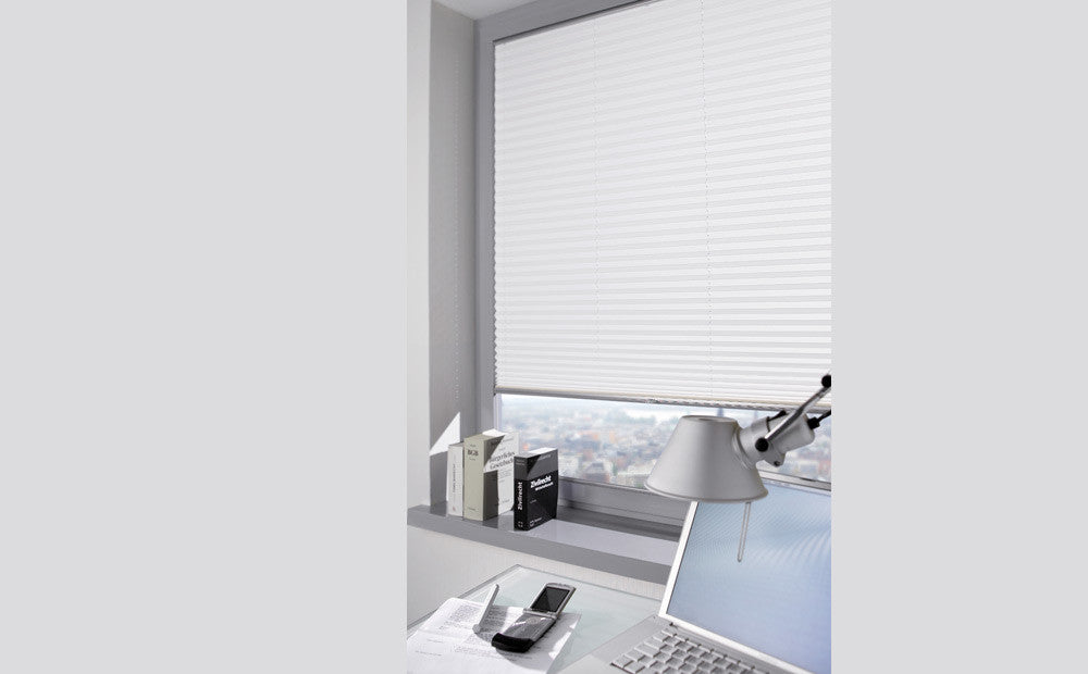 Pleated White Silent Gliss Blinds