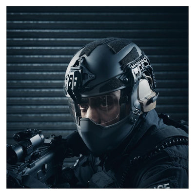 Galvion Batlskin Caiman Fixed Arm Visor in use with Ciaman Ballistic Helmet and Caiman Ballistic Mandible Guard