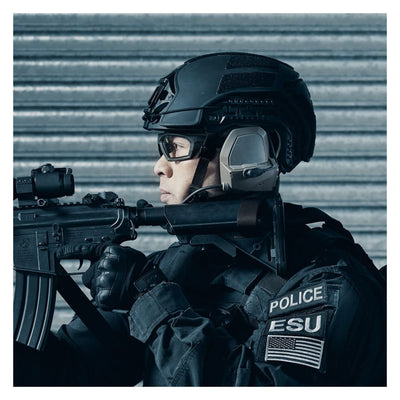 Galvion Caiman Ballistic Applique - in use with Caiman Hybrid Helmet