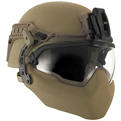 Galvion Batlskin Viper Front Mount Tan499 with visor and mandible guard