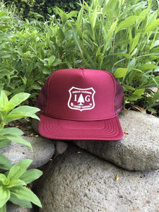 IG Trucker Hat - Burgundy with Forest Badge