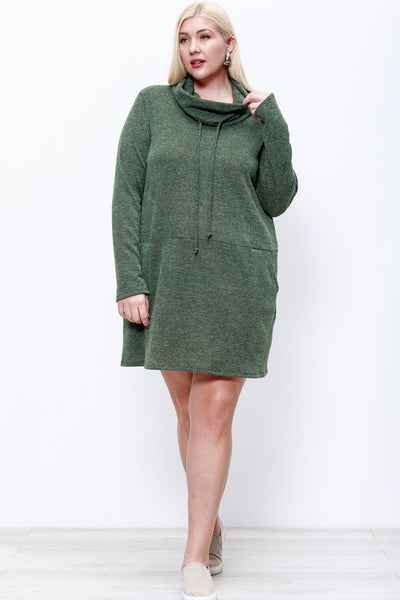 2TONE KNIT COWL NECK DRESS W/ POCKET