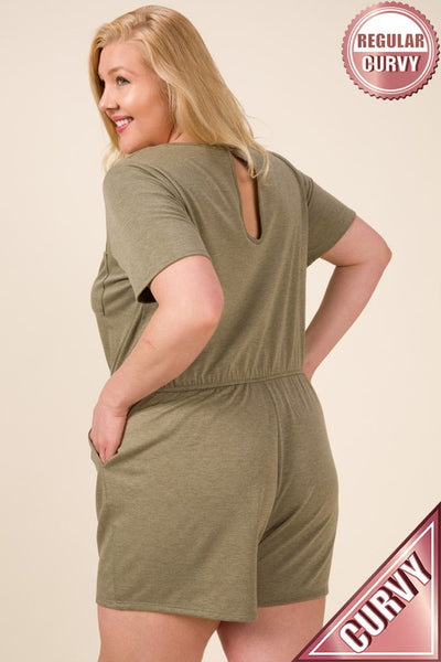 PLUS FRENCH TERRY FRONT & SIDE POCKETED ROMPER
