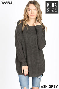 HI-LOW LONG SLEEVE ROUND NECK WAFFLE SWEATER