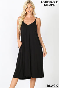 V-NECK CAMI KNEE LENGTH DRESS
