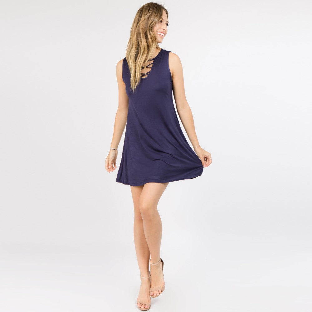 Navy Sleeveless Cross Dress