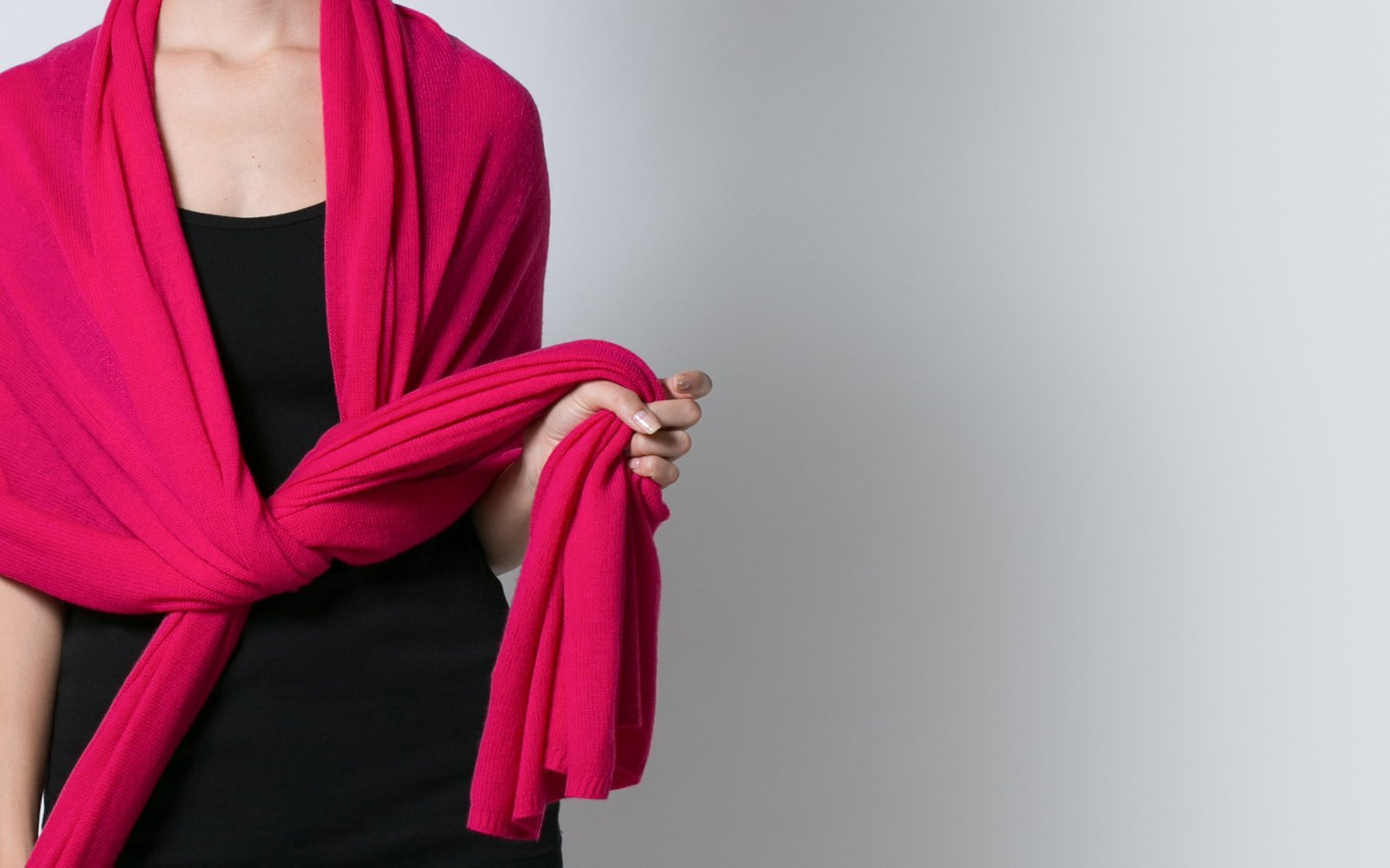 Hot pink cerise pure cashmere oversized travel wrap scarf