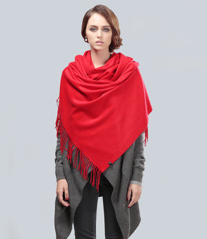 Poppy Red Fringe Scarf