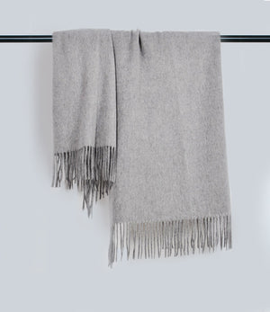 Oyster Gray Fringe Scarf
