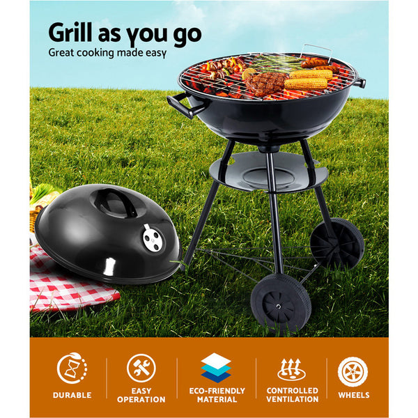 BBQ Blokes Charcoal BBQ Smoker Drill Outdoor Camping Patio Wood Barbeque Steel Oven