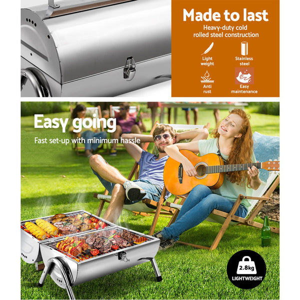 BBQ Blokes Portable BBQ Drill Outdoor Camping Charcoal Barbeque Smoker Foldable