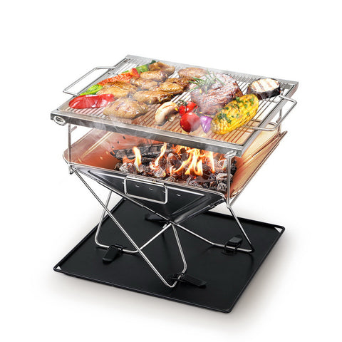 BBQ Blokes Camping Fire Pit BBQ Portable Folding Stainless Steel Stove Outdoor Pits