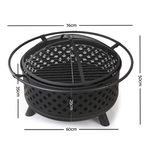 BBQ Blokes Portable Outdoor Fire Pit and BBQ - Black