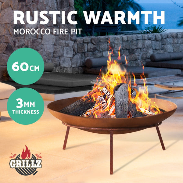 BBQ Blokes Rustic Fire Pit Heater Charcoal Iron Bowl Outdoor Patio Wood Fireplace 60CM