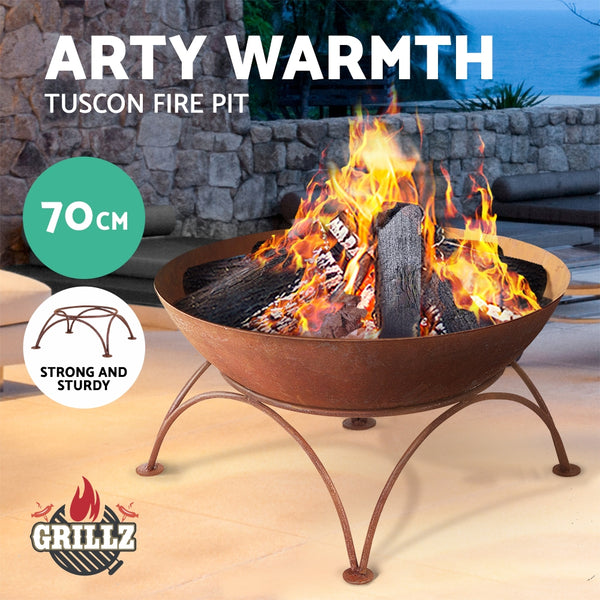 BBQ Blokes Rustic Fire Pit Brazier Portable Charcoal Iron Bowl Outdoor Wood Burner 70CM