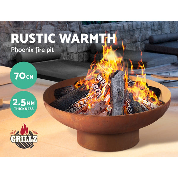 BBQ Blokes  Rustic Fire Pit Camping Wood Burner Rusted Outdoor Iron Bowl Heater 70CM