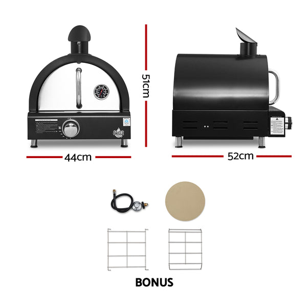 BBQ Blokes Portable Pizza Oven BBQ Camping LPG Gas Grill Cook Stove Stainless Stee