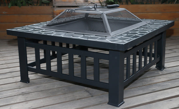 BBQ Blokes 18 Square Metal Fire Pit Outdoor Heater