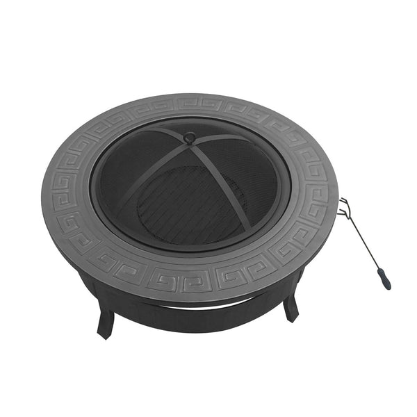 BBQ Blokes Round Outdoor Fire Pit BBQ Table Grill Fireplace