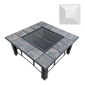 BBQ Blokes Outdoor Fire Pit BBQ Table Grill Fireplace Ice Bucket with Table Lid