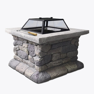 Grillz Fire Pit Table Outdoor Charcoal Camping Garden Rustic Fireplace