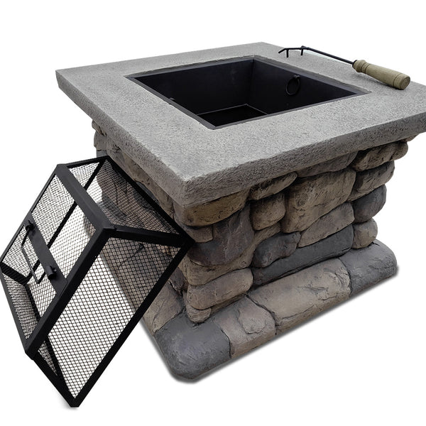 BBQ Blokes Fire Pit Table Outdoor Charcoal Camping Garden Rustic Fireplace