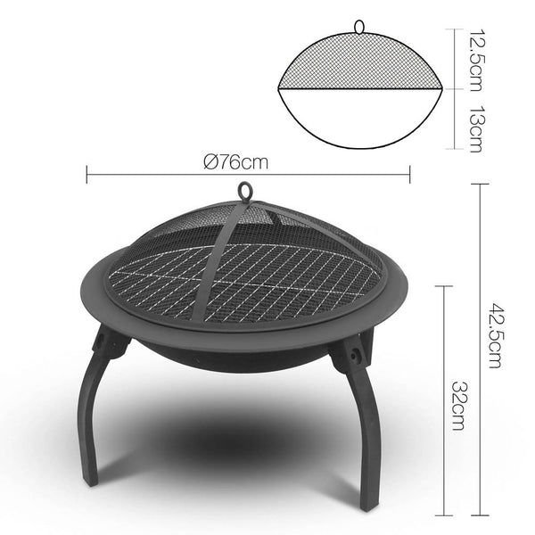 BBQ Blokes 30 Inch Portable Foldable Outdoor Fire Pit Fireplace