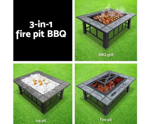 BBQ Blokes Outdoor Fire Pit BBQ Table Grill Fireplace with Ice Tray