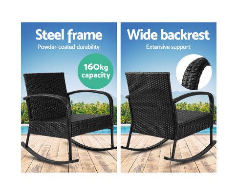 Gardeon Outdoor Furniture Rocking Chair Wicker Garden Patio Lounge Setting Black